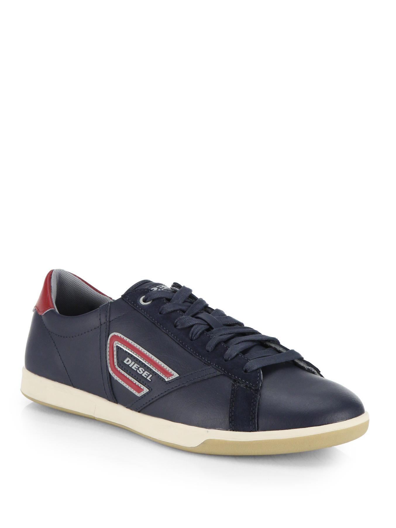 Diesel Eastcop Grantor Leather Sneakers In Blue For Men Lyst