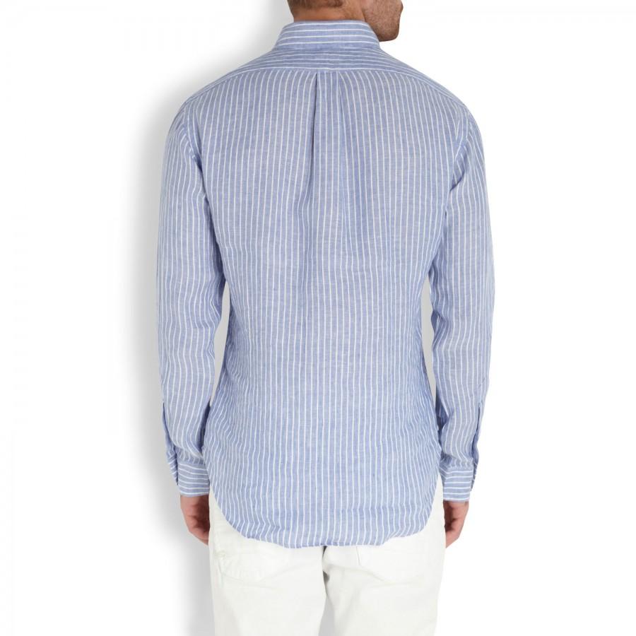 7b9051e6 Polo Ralph Lauren Striped Linen Shirt in White for Men - Lyst