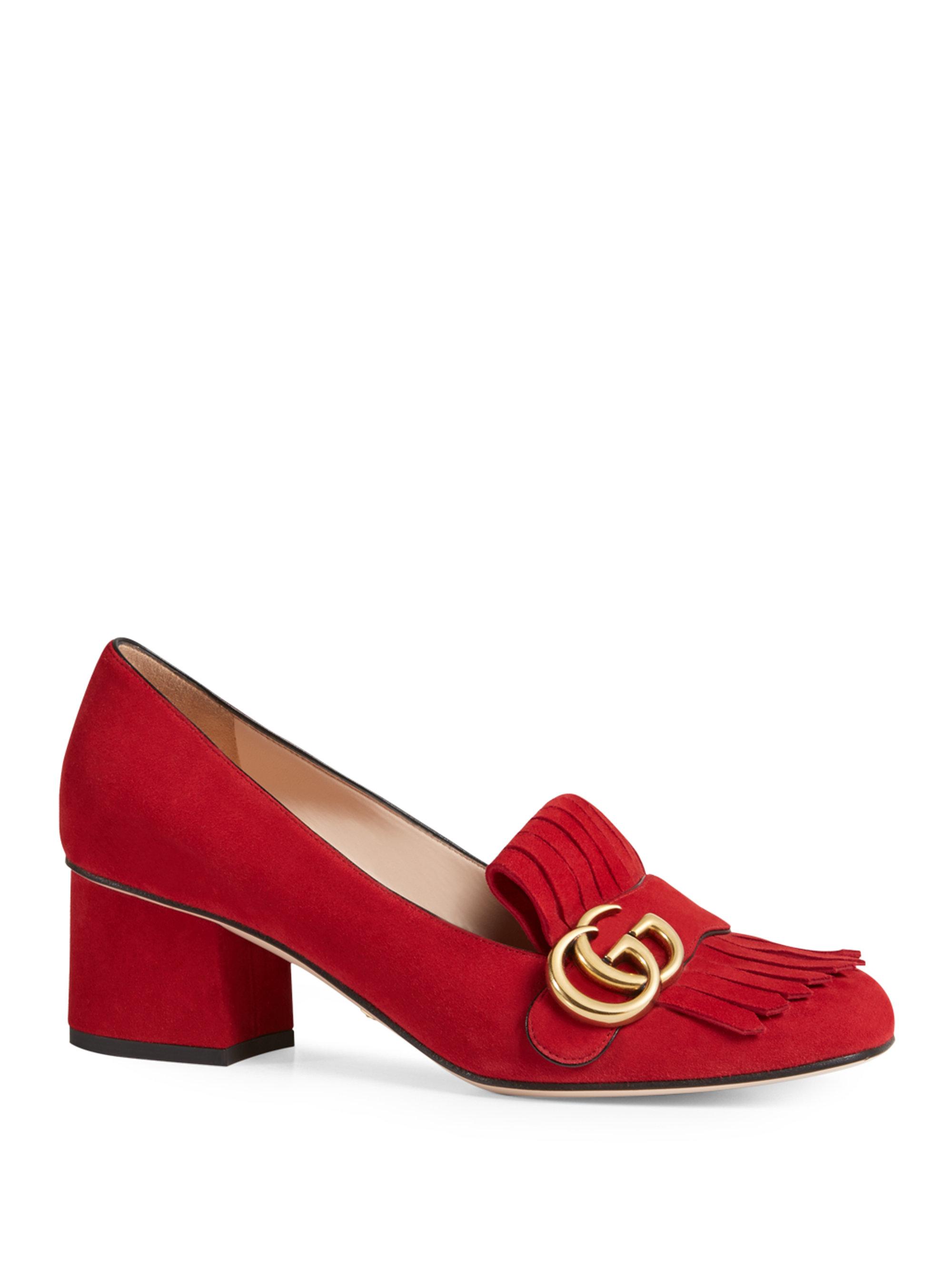 Red Low Heel Pumps