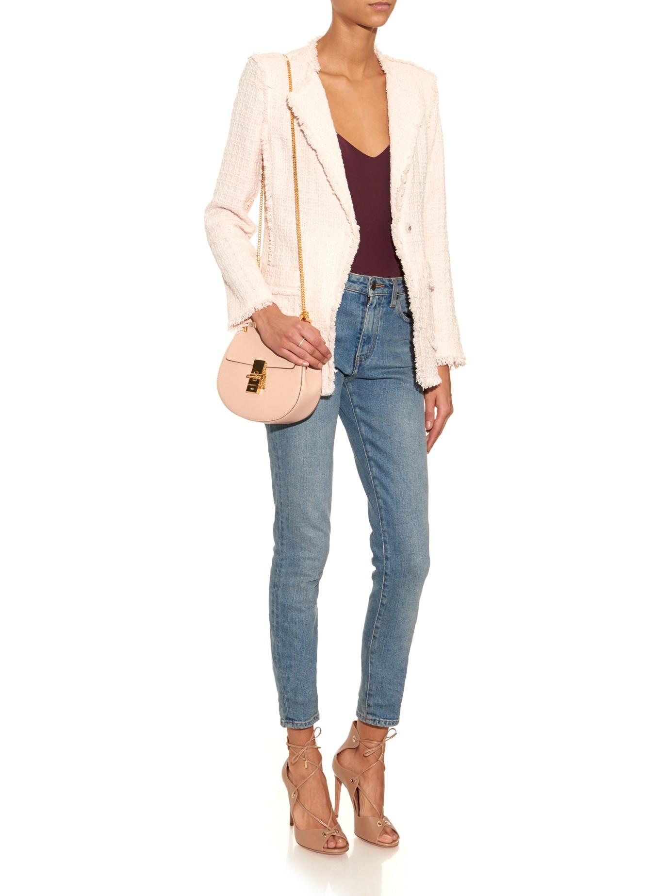 Rebecca taylor Tweed Collarless Jacket in Pink | Lyst