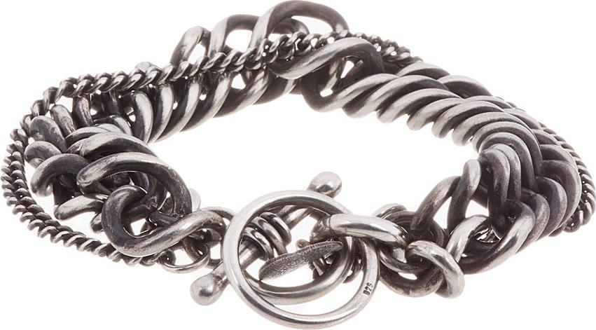 Ann Demeulemeester Antiqued Silver Heavy Chain Bracelet In
