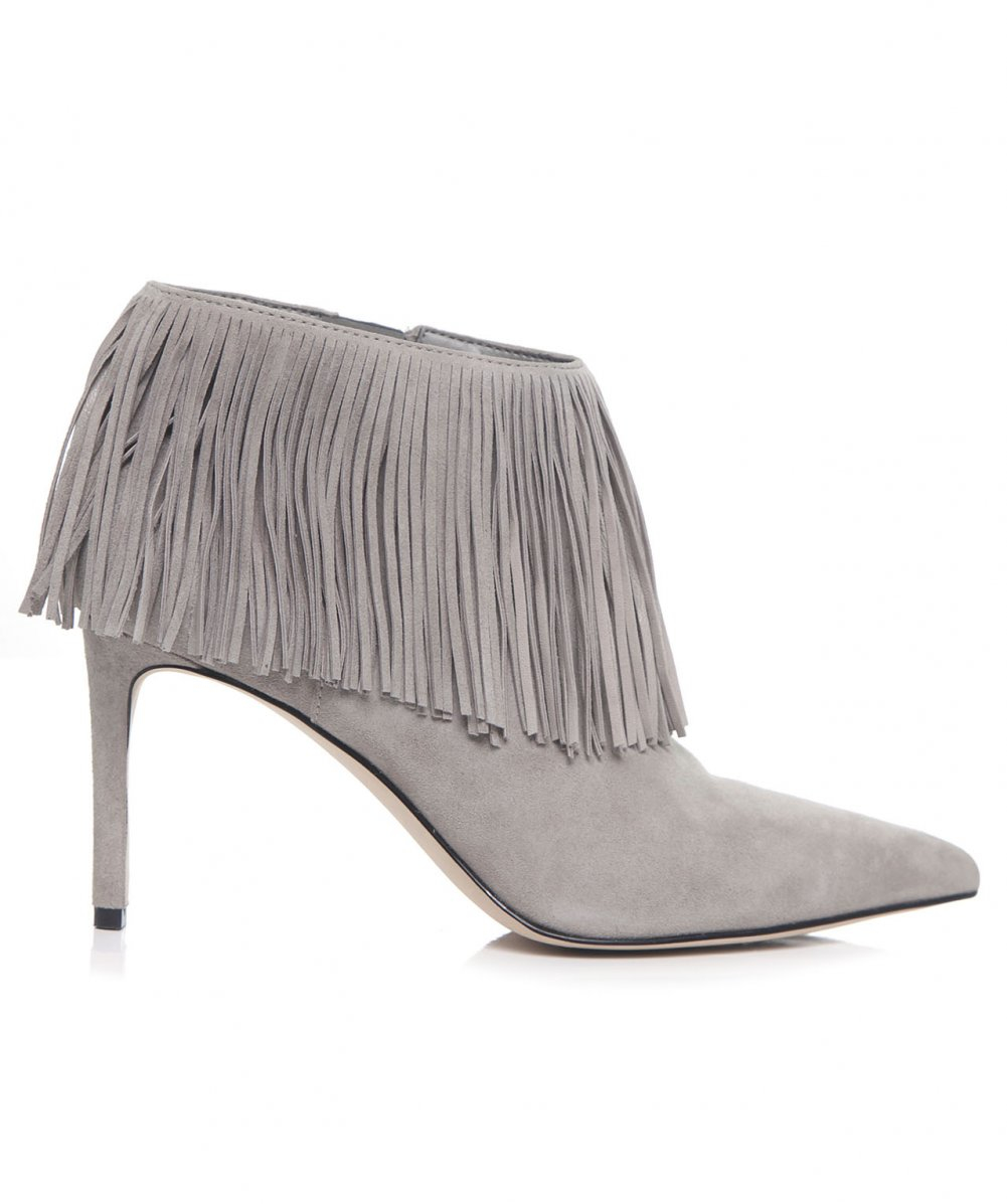 3a15aa86fef477 Lyst - Sam Edelman Kandice Suede Fringe Boots in Gray