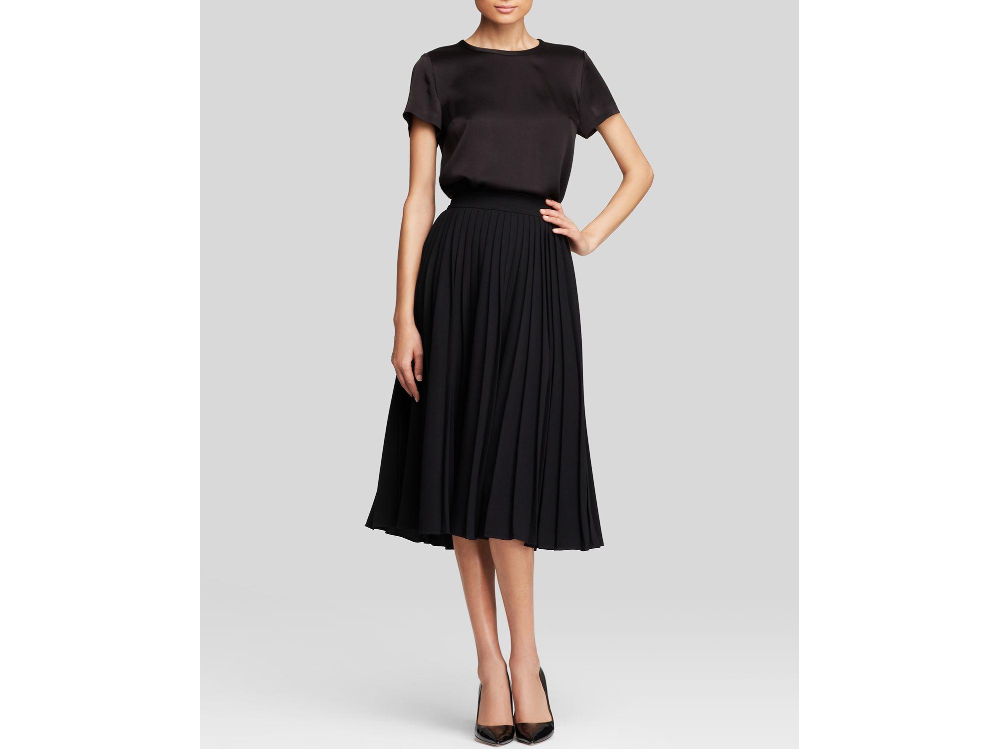 Kate spade new york Pleat Midi Skirt in Black   Lyst