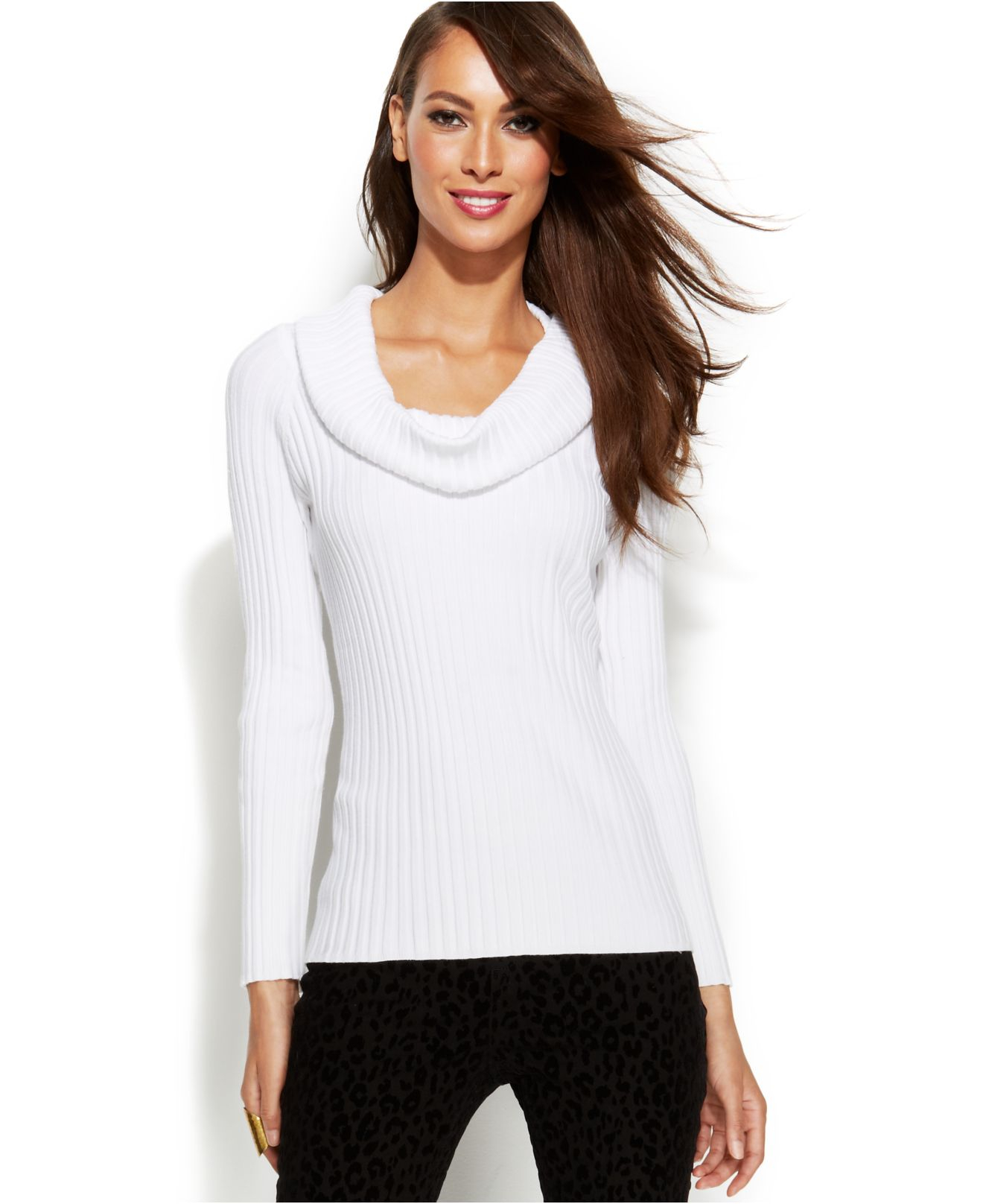 Inc international concepts Ribbed-Knit Cowl-Neck Sweater in White ...