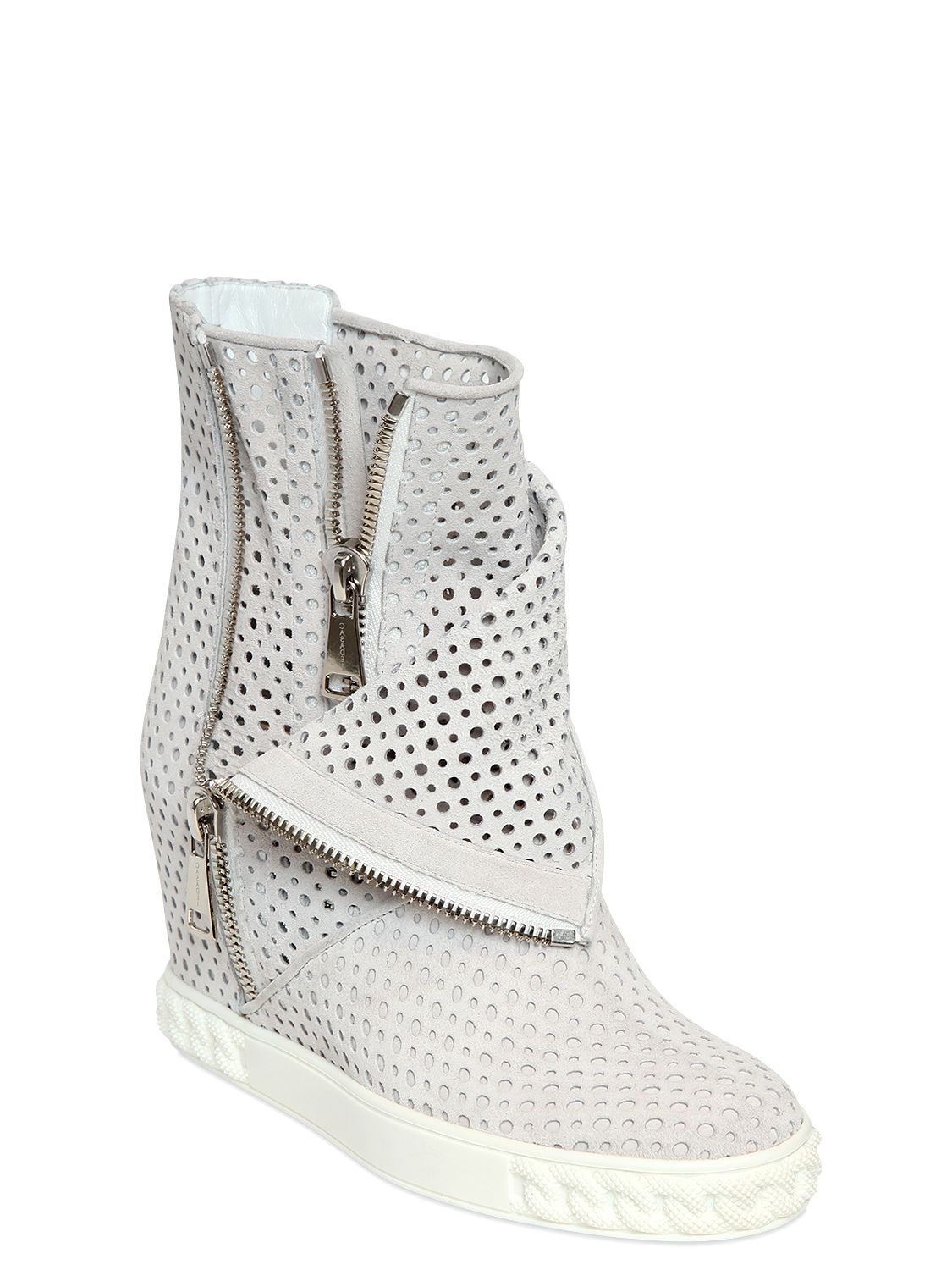 casadei 90mm perforated suede wedge boots in white lyst