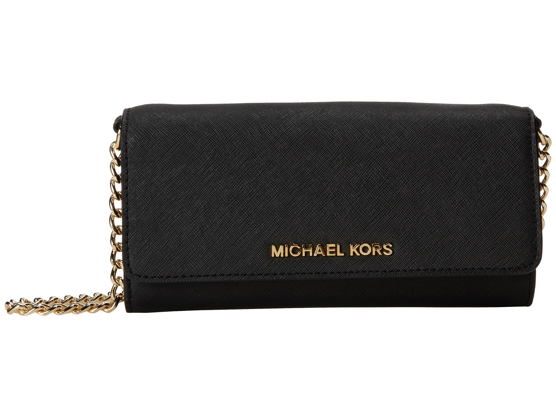 4e168dca5ec5 Lyst - MICHAEL Michael Kors Jet Set Travel Wallet On A Chain in Black