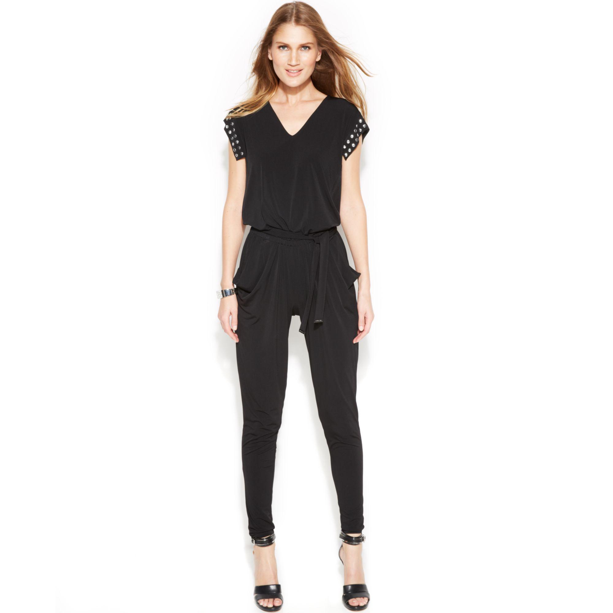 michael kors michael petite slimleg studded jumpsuit in black lyst. Black Bedroom Furniture Sets. Home Design Ideas