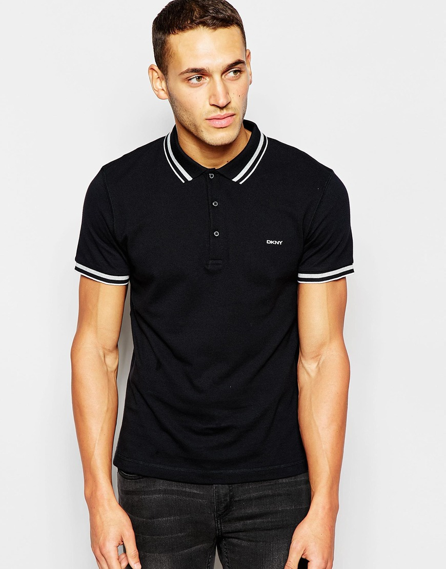 Lyst Dkny Fabric Collar Polo Shirt In Black For Men