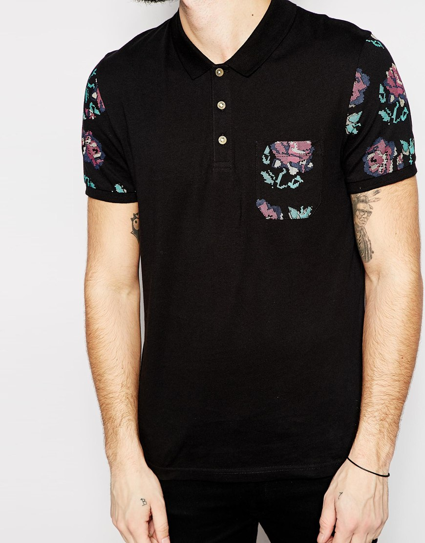 Asos Polo Shirt With Floral Sleeves Pocket In Black For