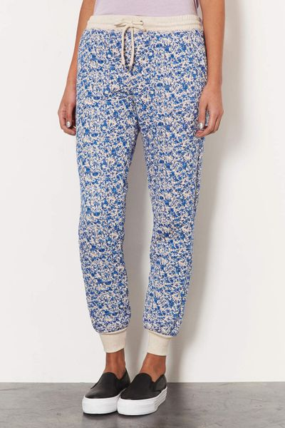 Topshop Ditsy Floral Quilted Joggers In Blue Lyst