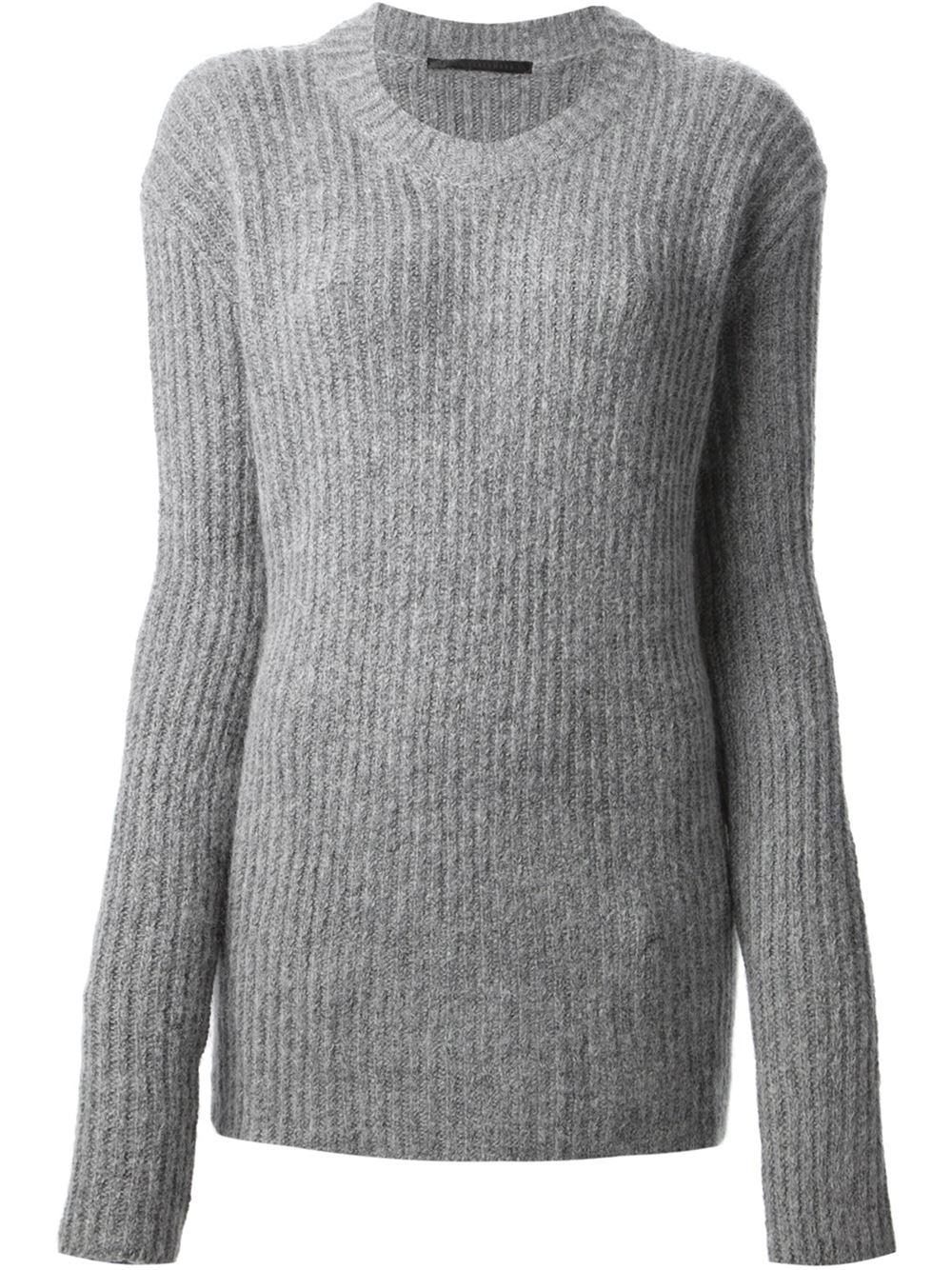 haider ackermann ribbed crew neck sweater in gray grey. Black Bedroom Furniture Sets. Home Design Ideas