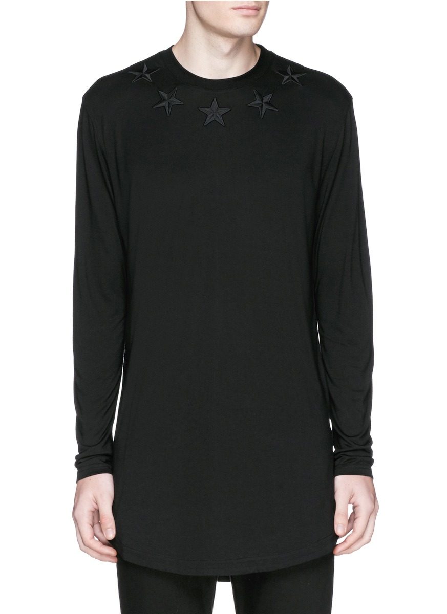 Givenchy star embroidery long sleeve t shirt in black for for Givenchy star t shirt