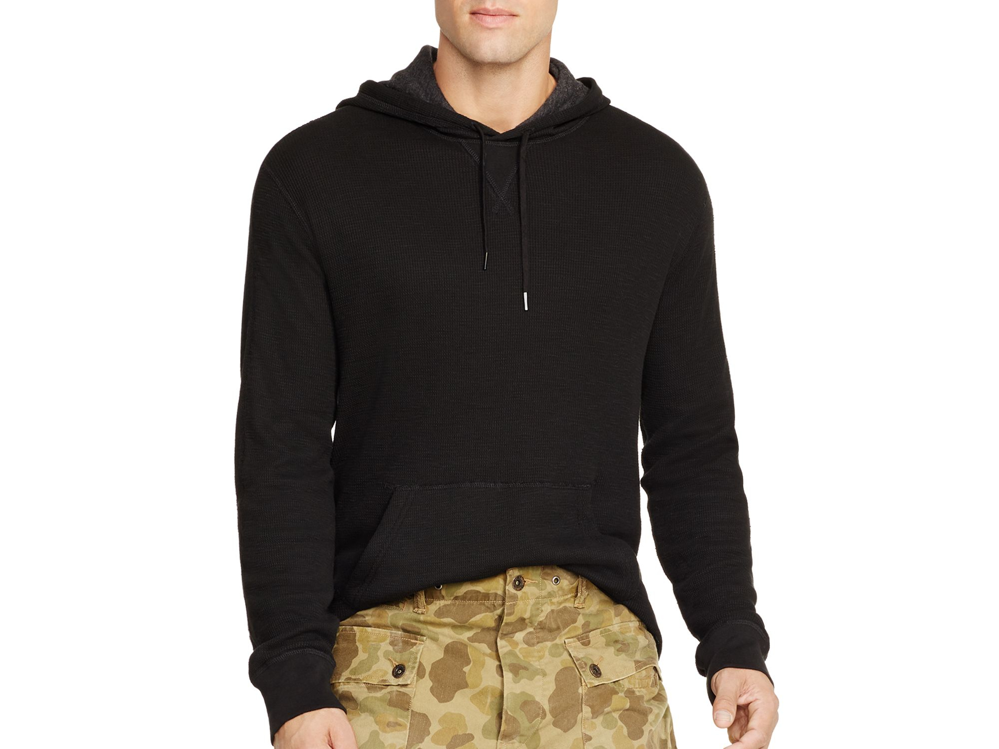 2679220c3 Polo Ralph Lauren Duofold Waffle-knit Hoodie in Black for Men - Lyst