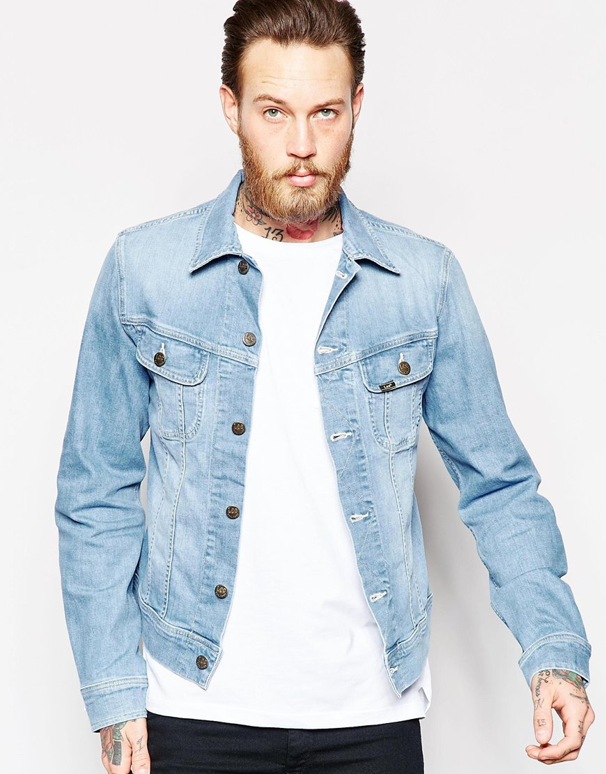 Lee jeans Denim Jacket Slim Fit Rider Light Wash Stretch in Blue ...