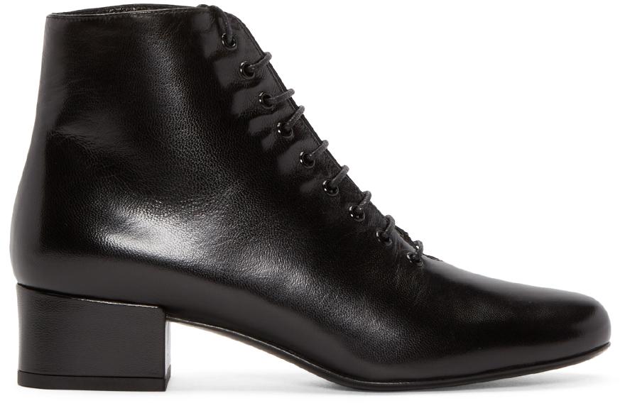 Saint Laurent Black Paloma Leather And Lace Shoes