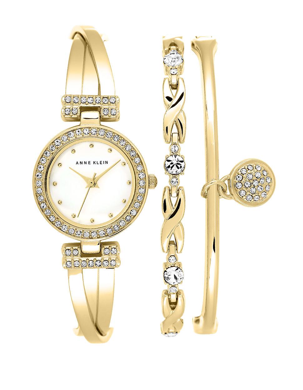 Lyst anne klein ladies swarovski crystal and goldtone bracelet watch set in metallic for Anne klein swarovski crystals