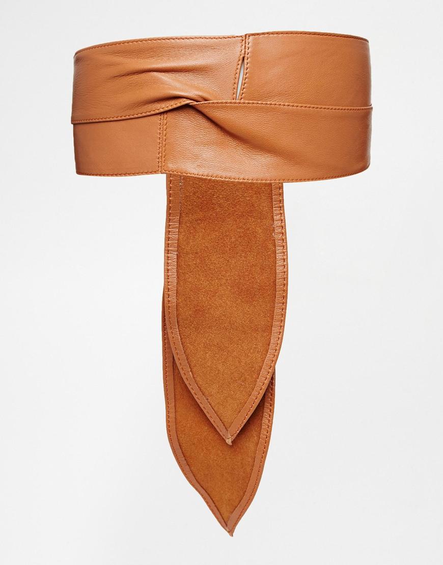 black brown premium leather oversized obi belt in brown