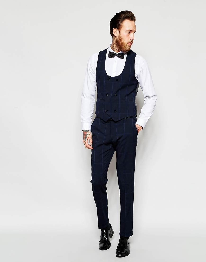 Asos Skinny Suit Trousers In Check In Navy - Navy in Blue for Men ...