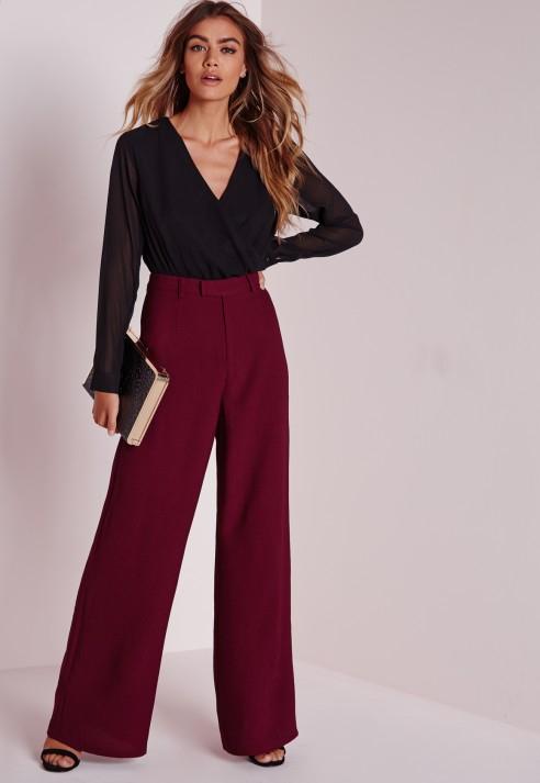 Lyst - Missguided Petite Premium Crepe Wide Leg Pants Burgundy in Purple 3bc725246279