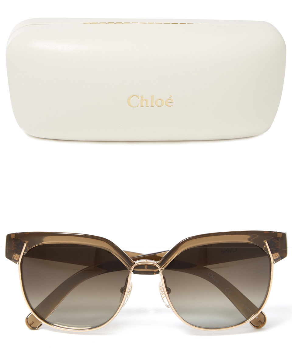 3c2c98982c7 Lyst - Chloé Khaki Dafne Half-frame Sunglasses in Natural