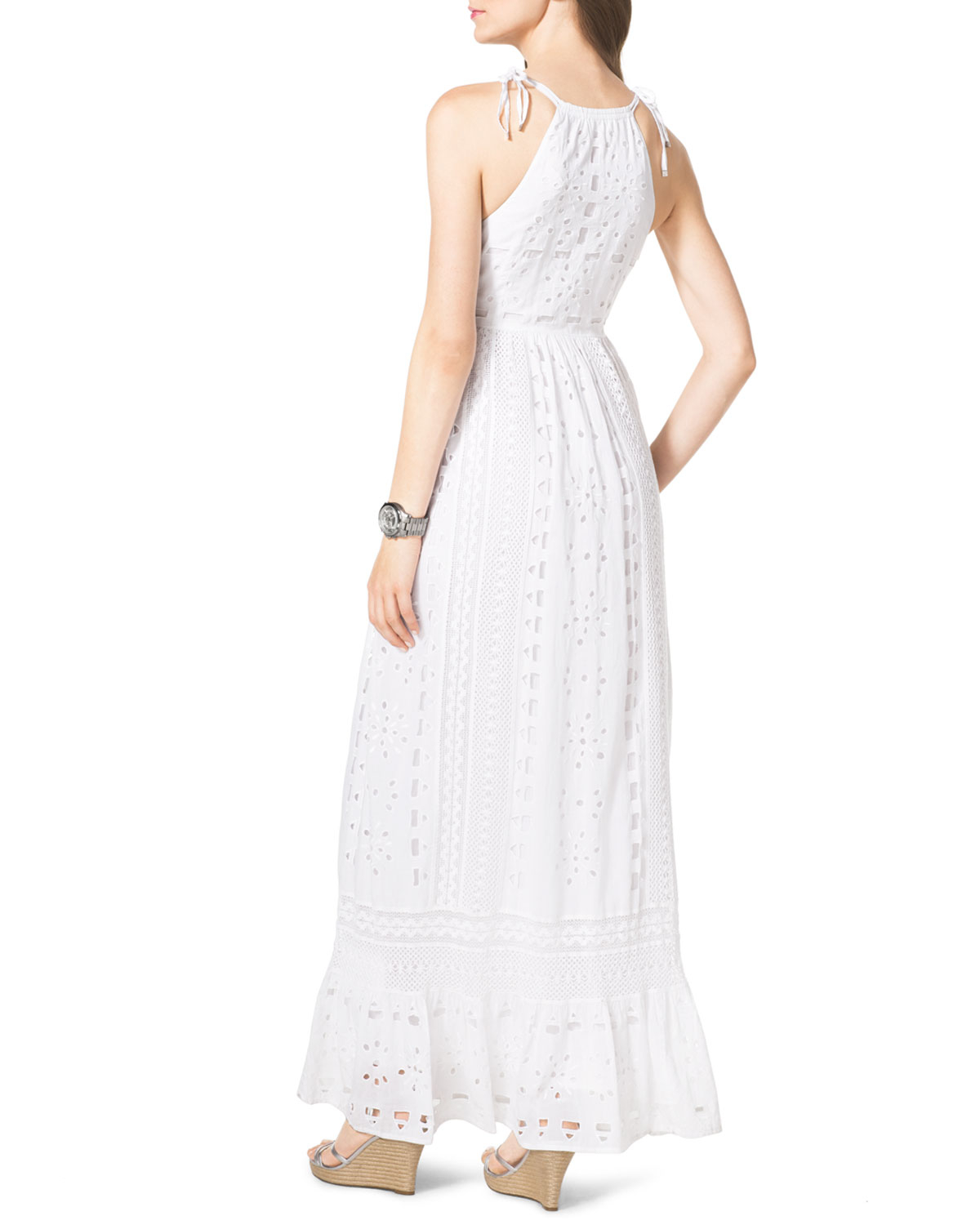 Michael michael kors Cotton Eyelet Maxi Dress in White | Lyst