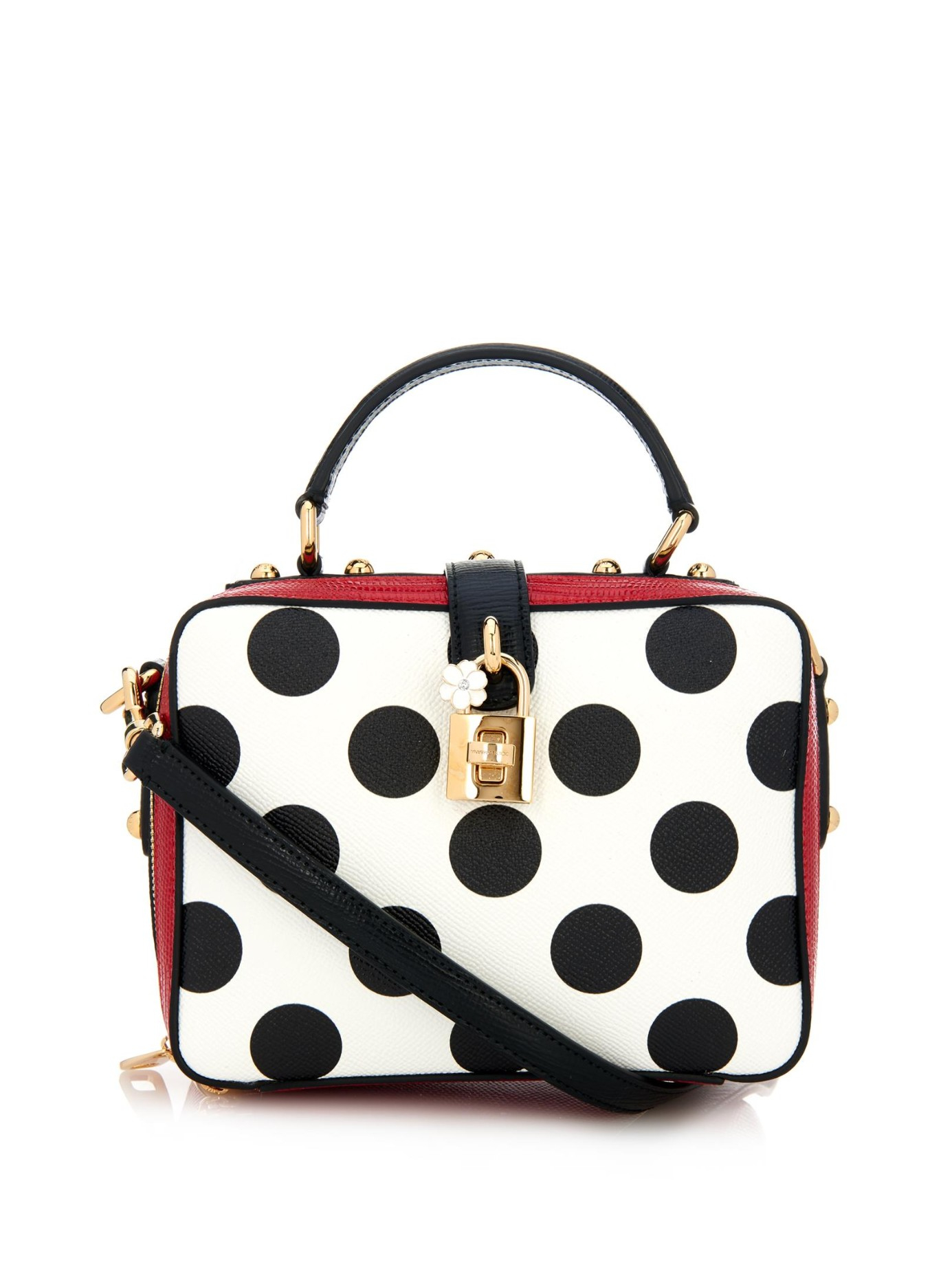 1b0a87d4aaf6 Lyst - Dolce   Gabbana Rosaria Polka-Dot Cross-Body Bag in Black