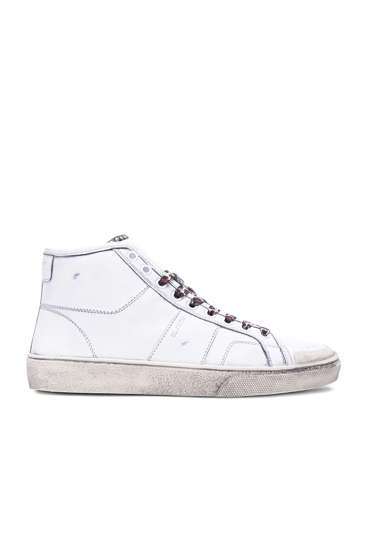Saint laurent Leopard Lace Surf Sneakers in White | Lyst