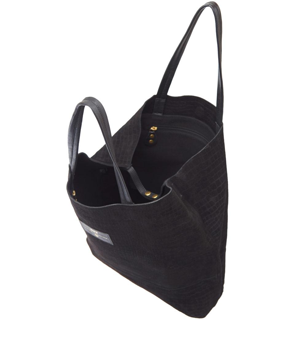 4094830705 Lyst - Day Birger et Mikkelsen Black Reptile Embossed Suede Bag in Black