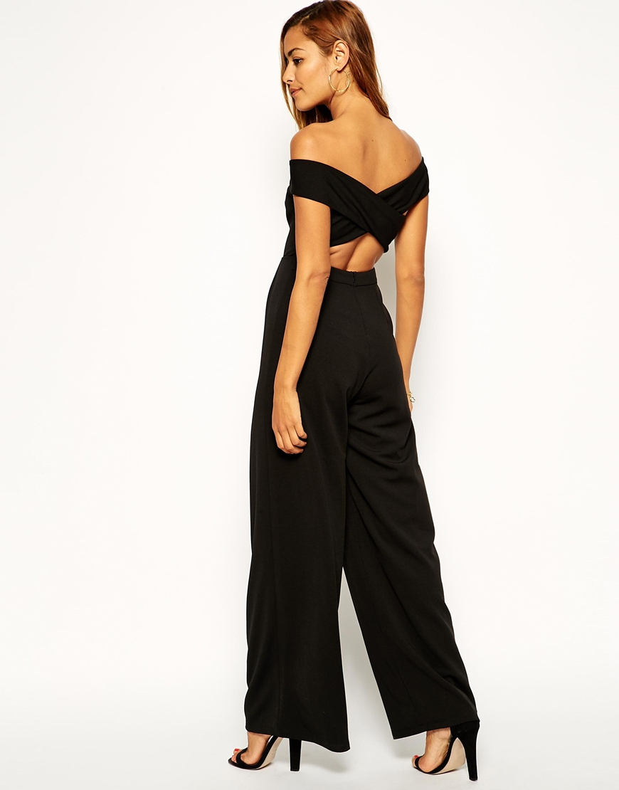 e236cee3559 Asos Bardot Jumpsuit With Wide Leg In Crepe in Black - Lyst