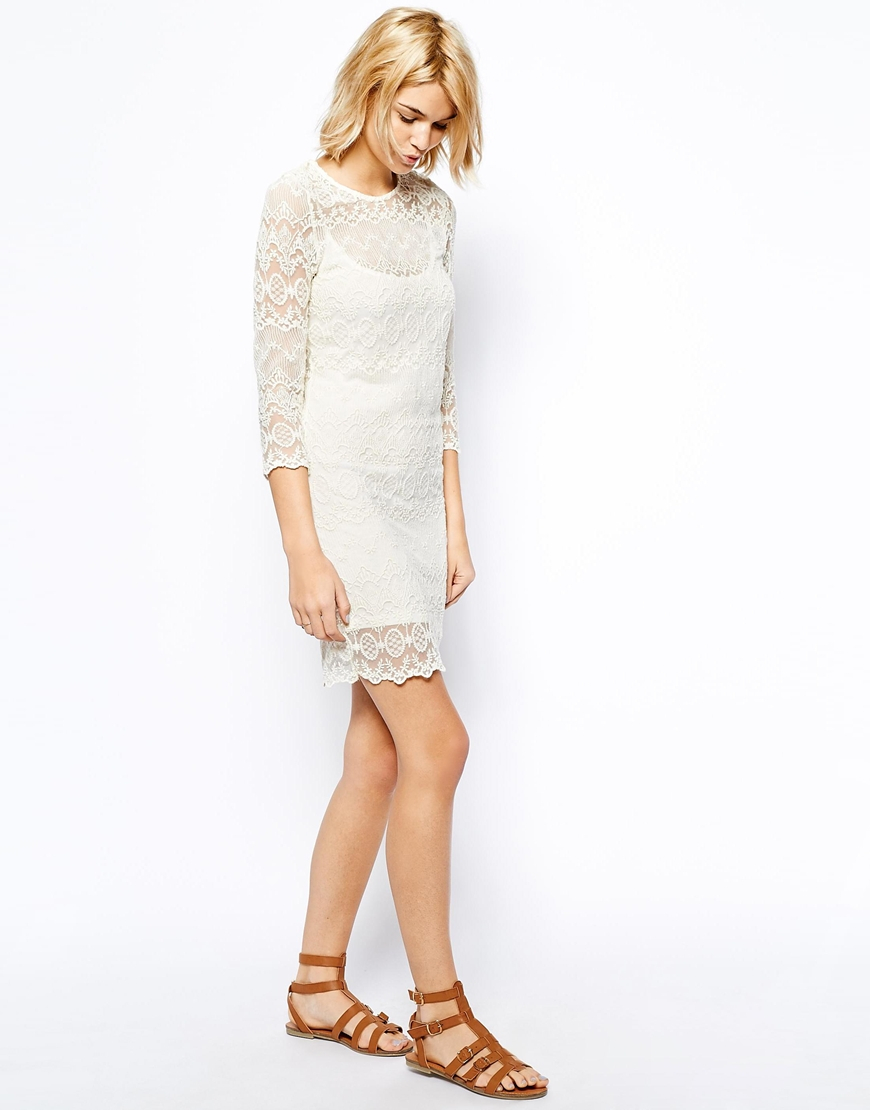 Mango Lace Long Sleeve Shift Dress in White