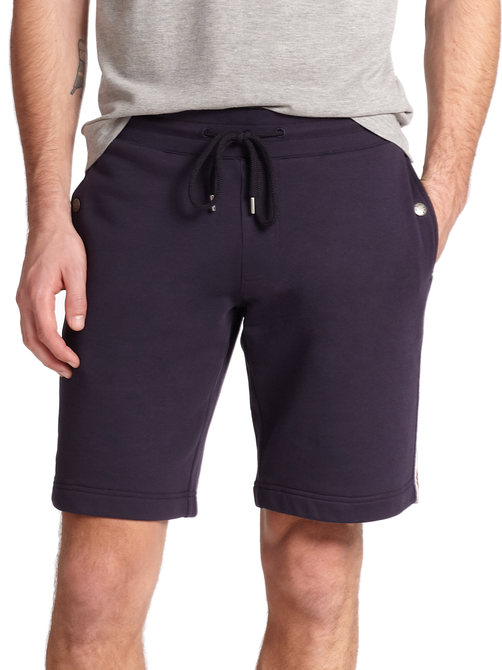 Moncler Drawstring Sweat Shorts in Blue for Men | Lyst