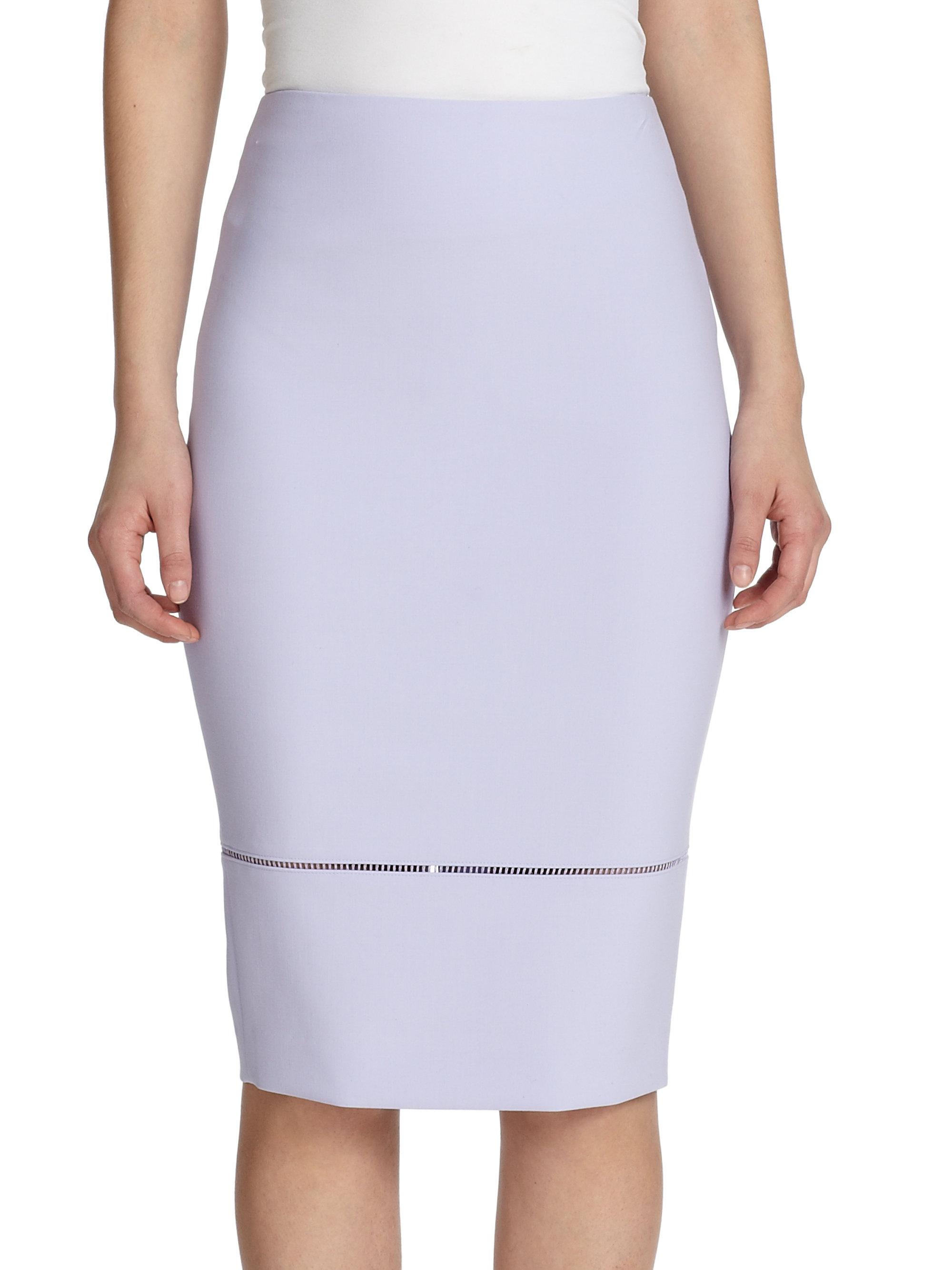 elizabeth and pencil skirt in purple lavender