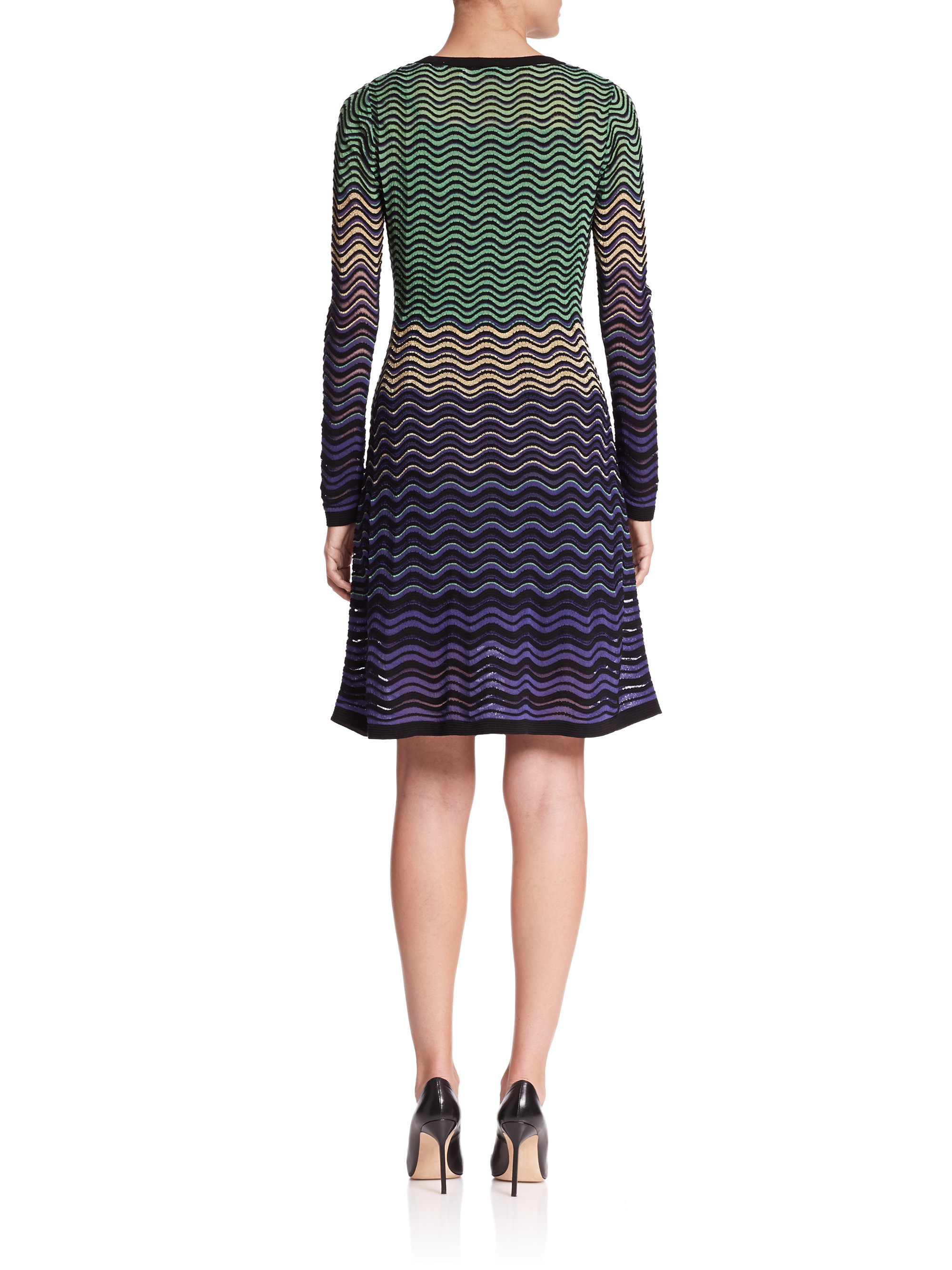 Violet Dress Knitting Pattern : M missoni Metallic Ripple-pattern Knit Dress in Purple Lyst