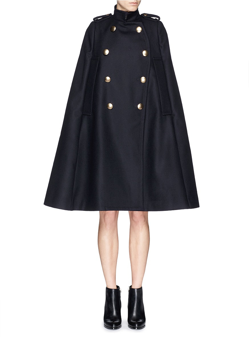 Sacai luck Brass Button Wool Felt Military Cape Coat in Black | Lyst