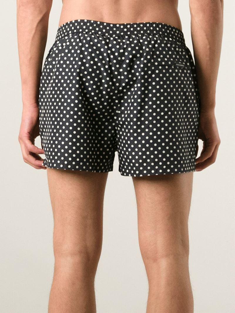 bf171196b1 Dolce & Gabbana Polka Dot Swim Shorts in Black for Men - Lyst