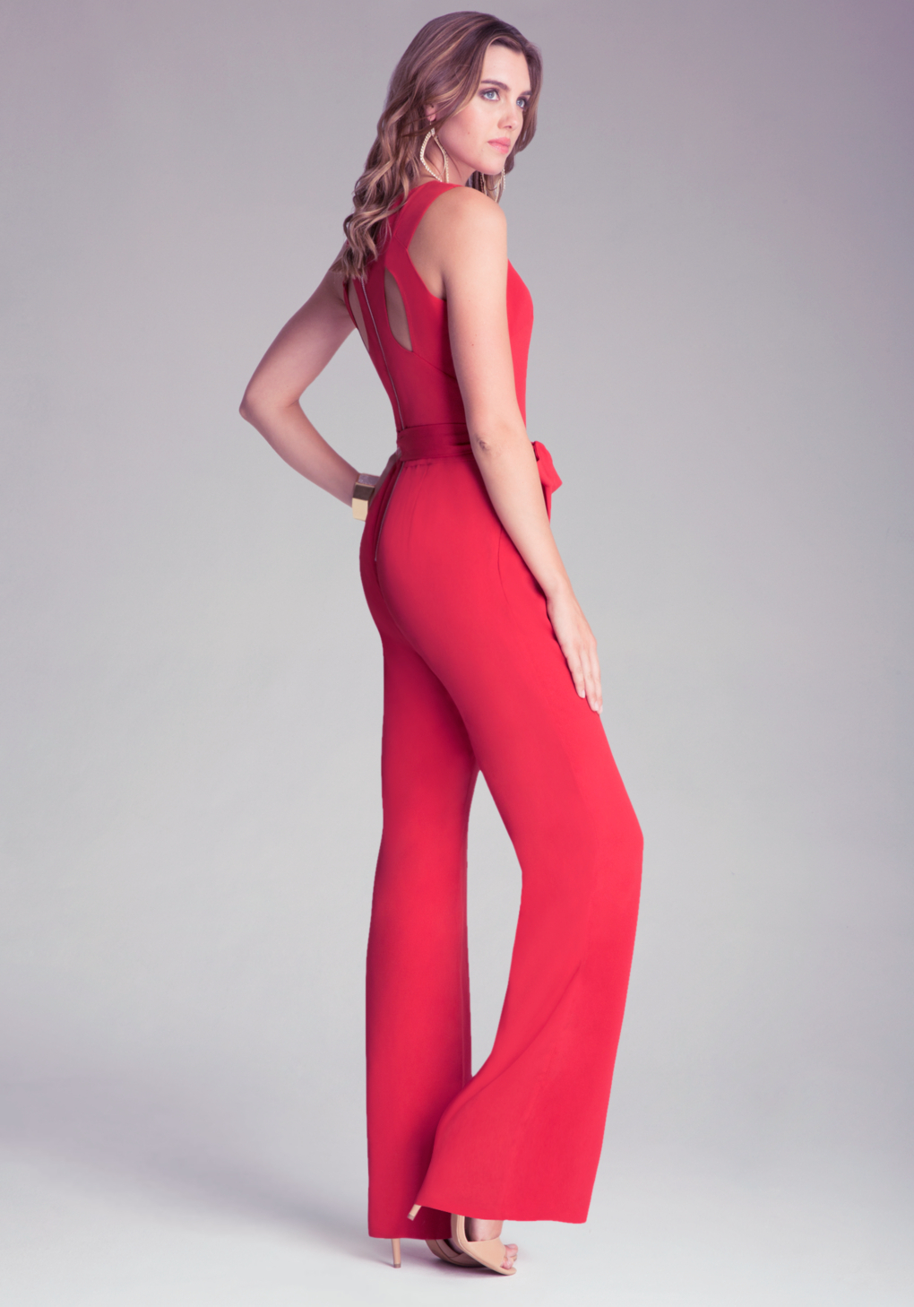 Bebe Kelly Zip Back Jumpsuit in Red | Lyst