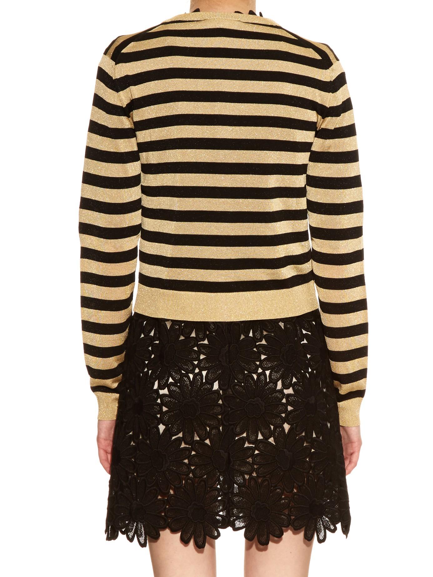 Dolce & gabbana Metallic-stripe Fine-knit Cardigan in Black | Lyst
