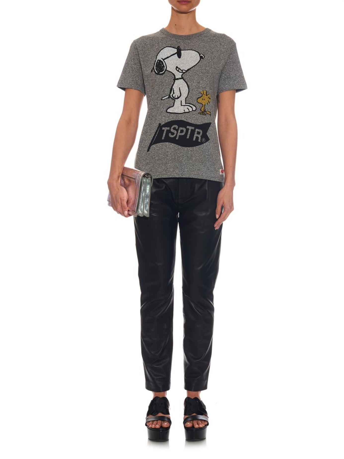 tsptr snoopy print cotton t shirt in gray lyst. Black Bedroom Furniture Sets. Home Design Ideas