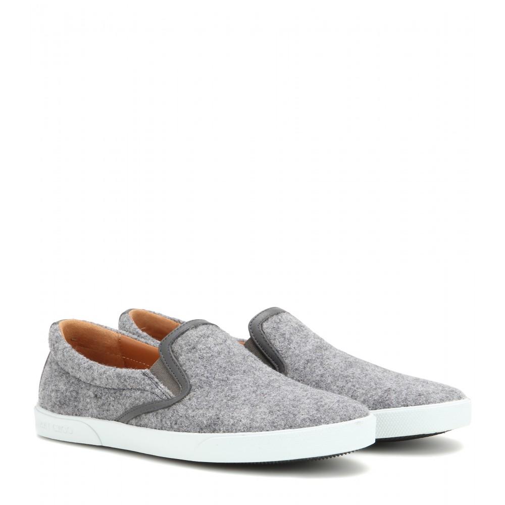 4eea49306597 Lyst - Jimmy Choo Demi Felt And Leather Slip-on Sneakers in Gray