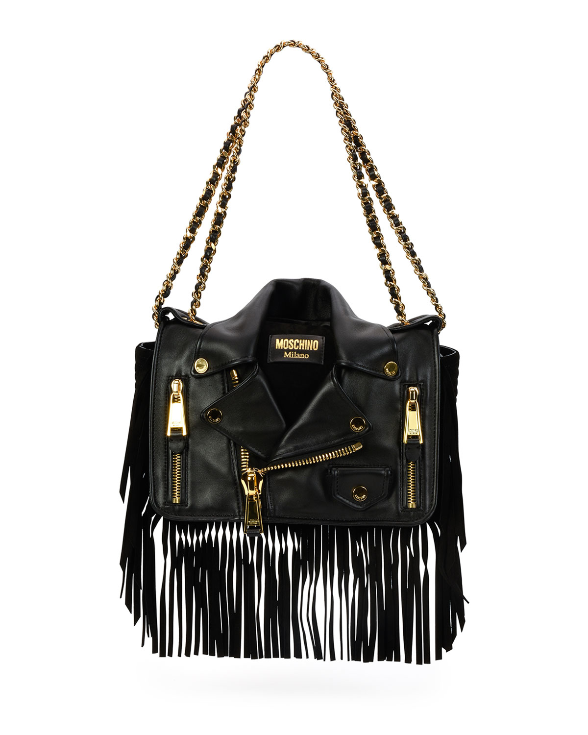 Moschino Fringe Jacket Large Shoulder Bag In Black Lyst