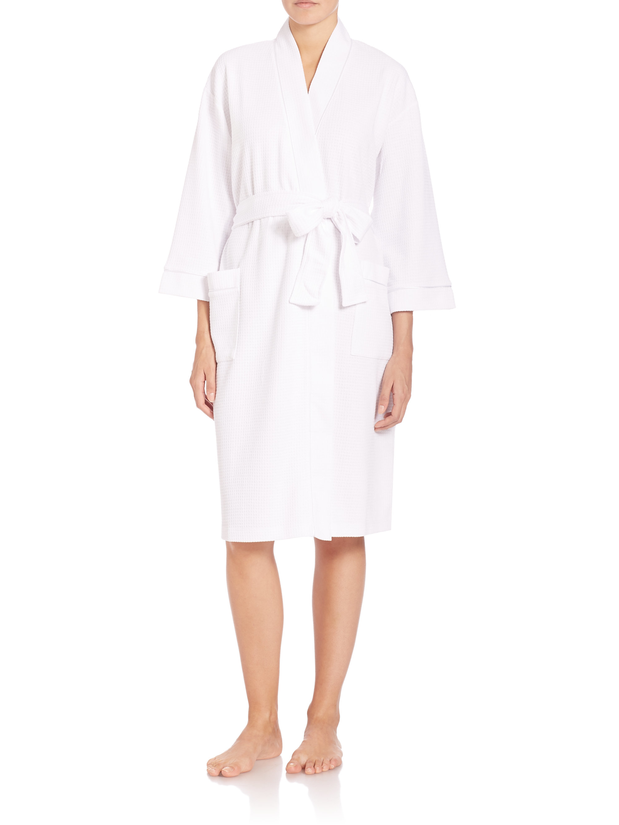 Saks fifth avenue waffle knit wrap robe in white lyst for Saks 5th avenue robes de mariage