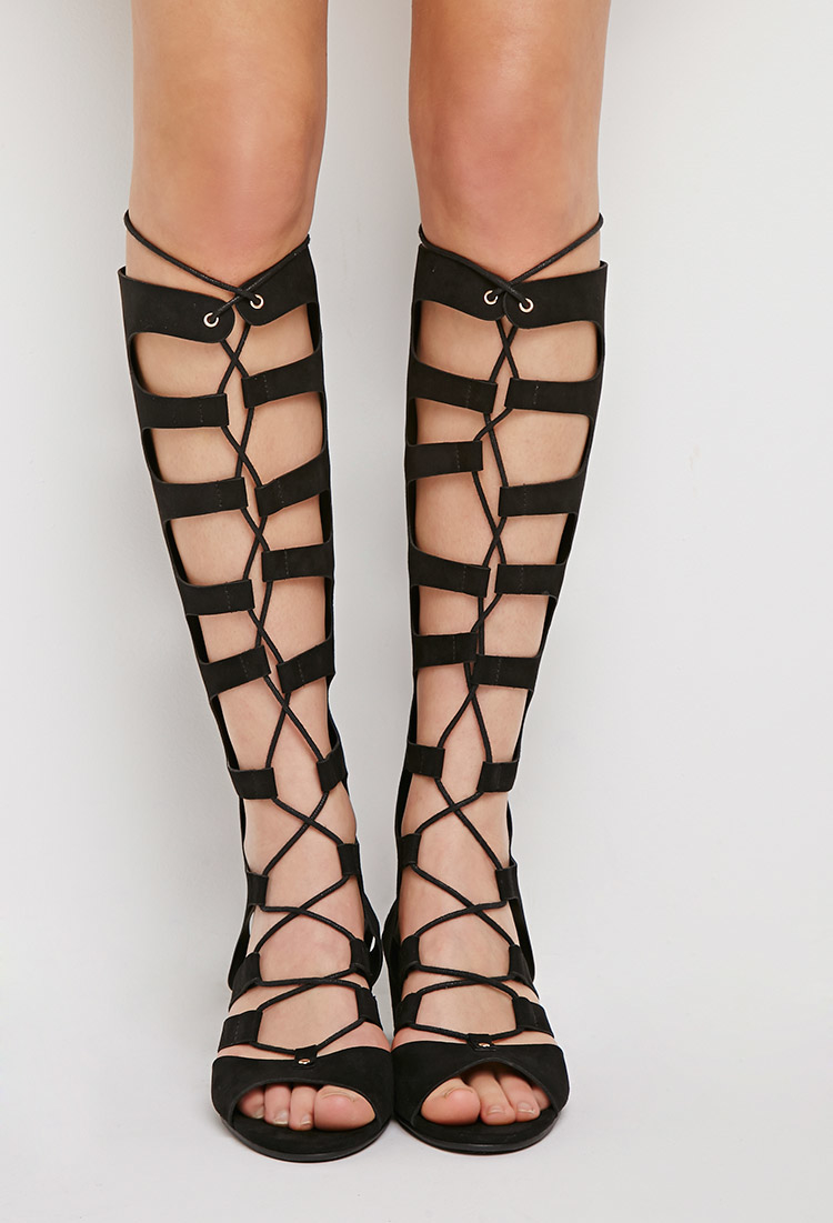 Forever 21 Lace-up Gladiator Wedge Sandals in Black | Lyst