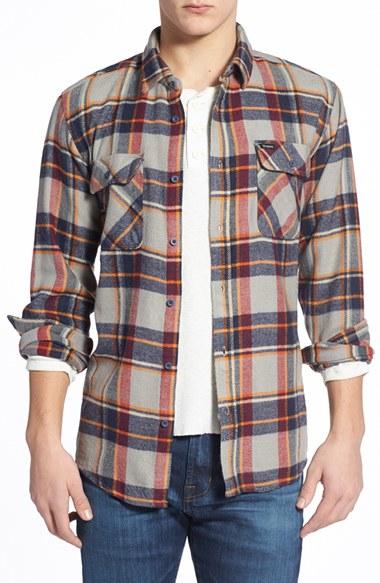 Lyst Brixton 39 Bowery 39 Long Sleeve Plaid Flannel Shirt