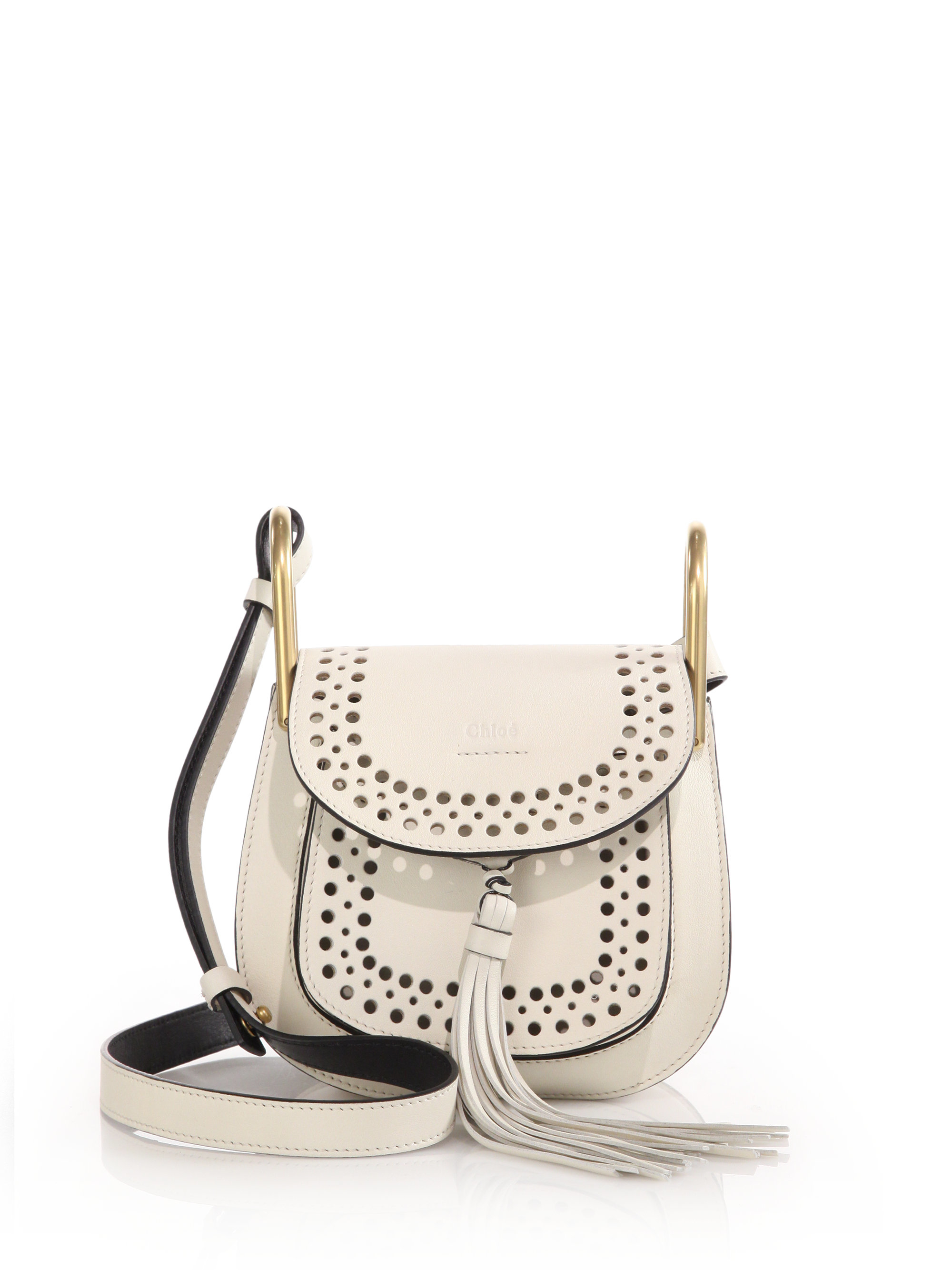 chleo bags - Chlo�� Hudson Perforated Leather Mini Saddle Bag in White - Save 30 ...