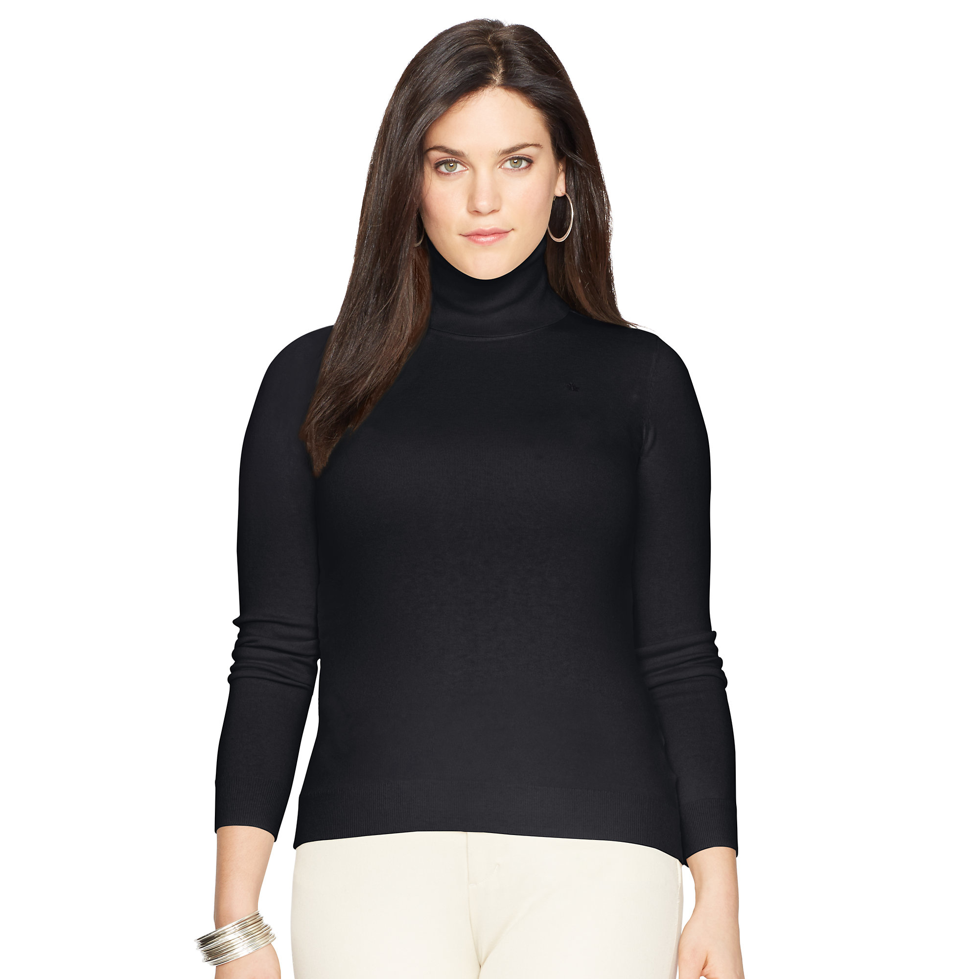 Ralph lauren Silk-cotton Turtleneck Sweater in Black | Lyst