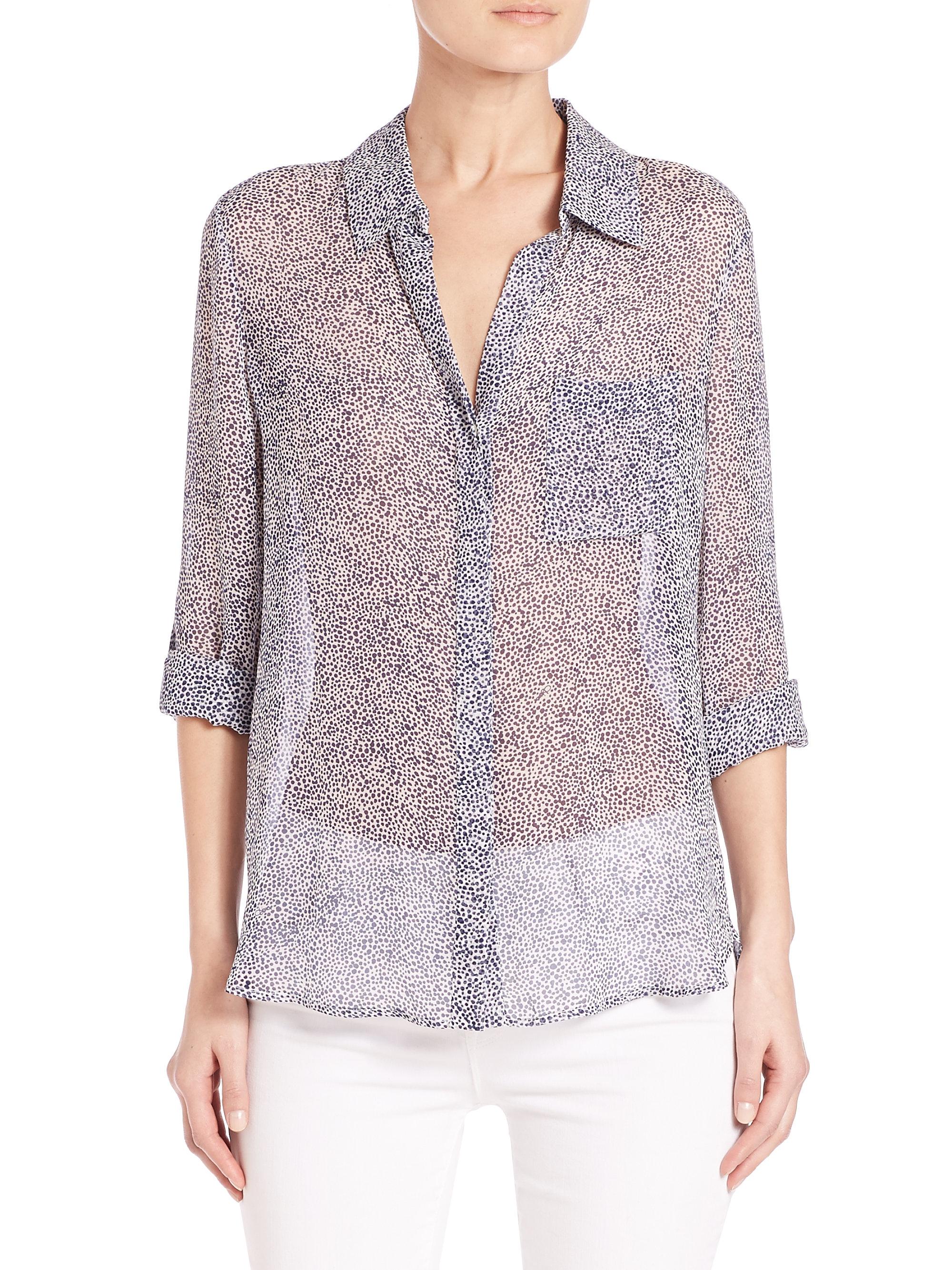 12a6684c1bda4 Diane von Furstenberg Lorelei Two Silk Shirt in Gray - Lyst