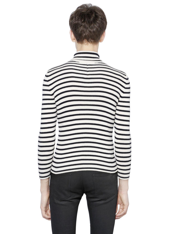 Lyst - Saint Laurent Striped Cotton   Wool Turtleneck Sweater in ... 4aef9b47a