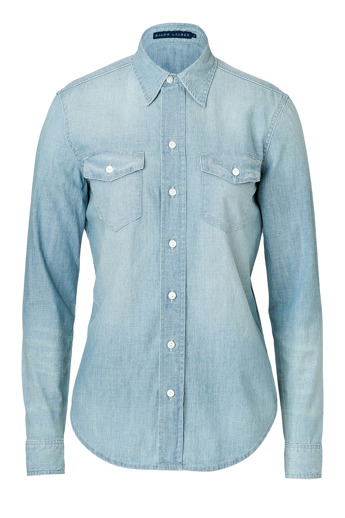 lyst polo ralph lauren cotton denim work shirt blue in