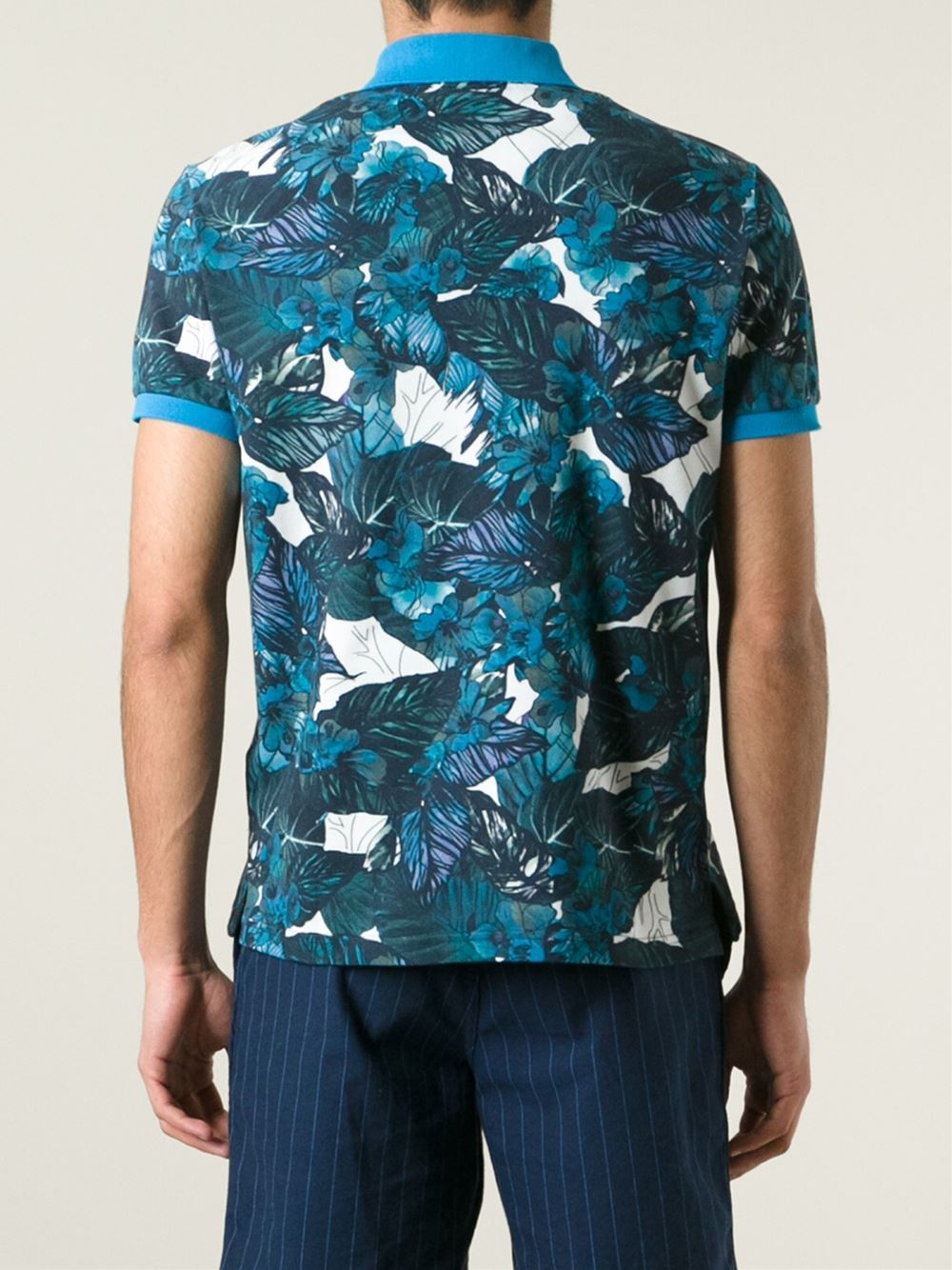 Etro floral print polo shirt in blue for men lyst for Blue floral shirt mens