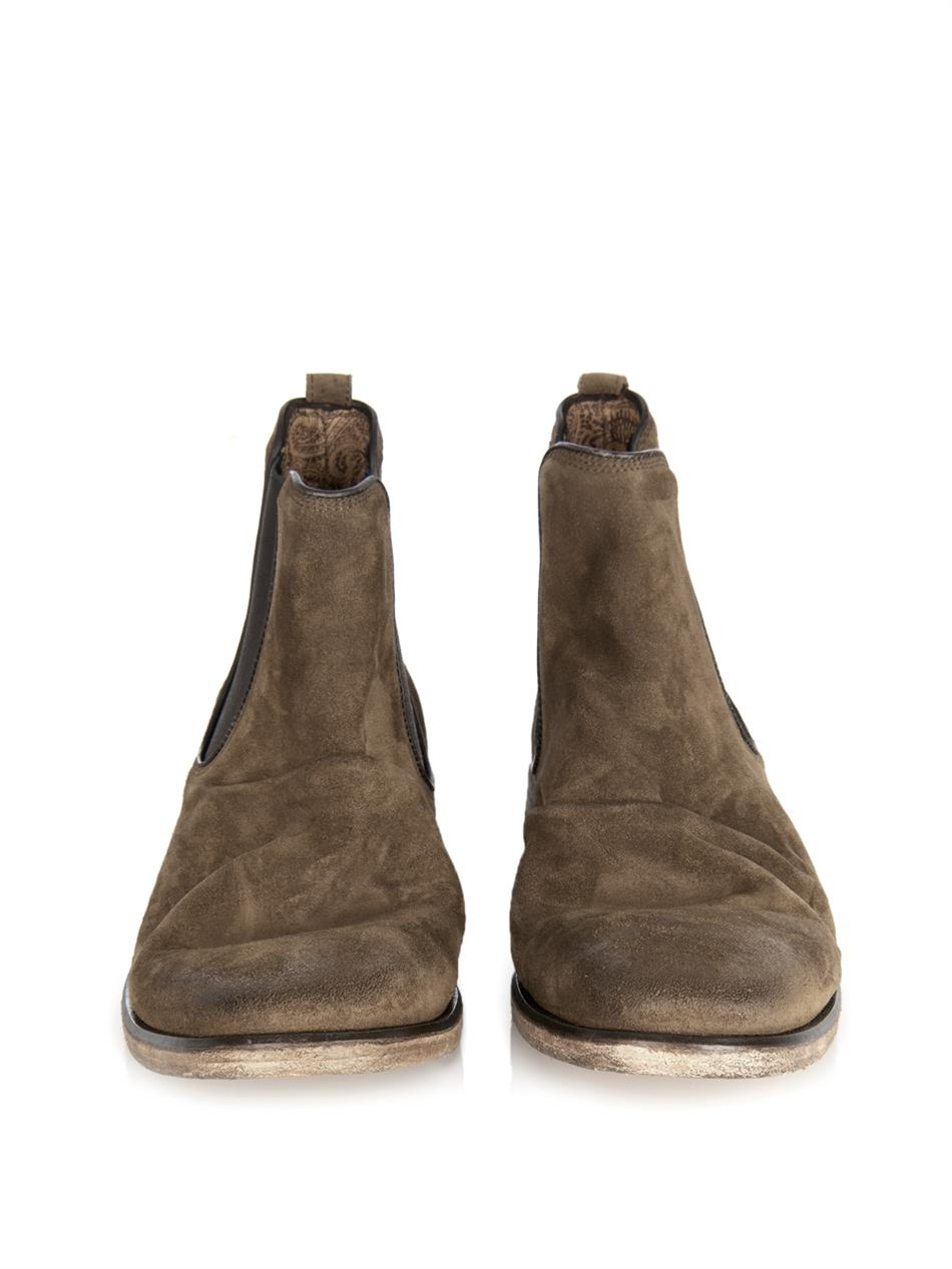 Lyst John Varvatos Distressed Suede Chelsea Boots In
